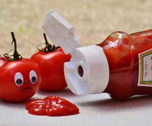 online listening practice with stories about ketchup bottle